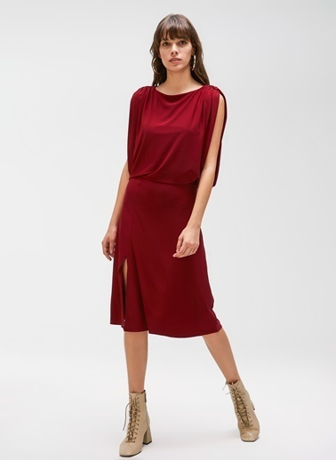 People By Fabrika Kol Detaylı Elbise Bordo